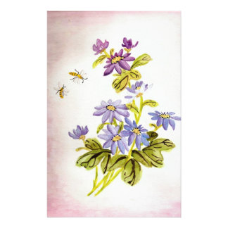 Bees and Flowers Customized Stationery