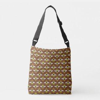 Bees and Honeycomb Pattern Crossbody Bag