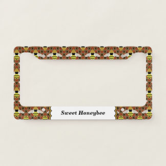 Bees and Honeycomb Pattern Personalized Licence Plate Frame