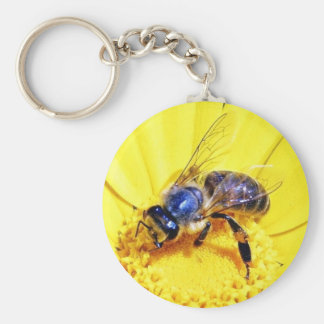 Bees Flowers Insects Keychain
