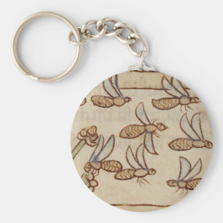 Bees from a Medieval Manuscript Basic Round Button Key Ring