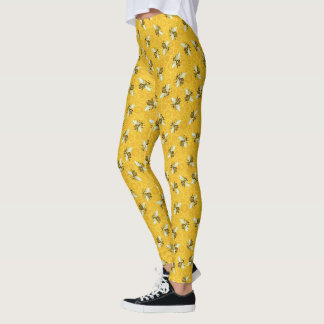 Bees Honeybees Honeycomb Cute Beehive Pattern Leggings