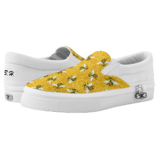 Bees Honeycomb Honeybee Beehive Pattern | Monogram Slip-On Shoes