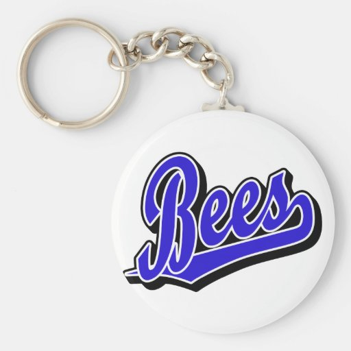 Bees in Blue Keychain