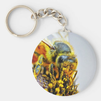 Bees Macro Pollen Insects Key Chains