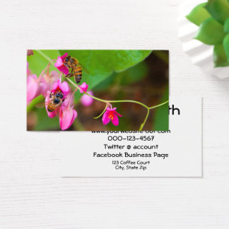 Bees On Coral Vine Flowers Photograph Business Card