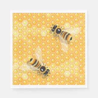 Bees On Honeycombs Paper Napkins