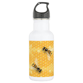 Bees On Honeycombs Water Bottle