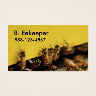 bees on yellow hive business card