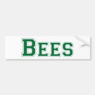 Bees square logo in green bumper stickers