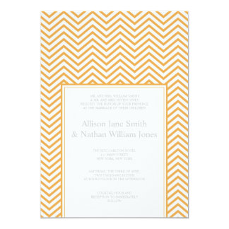 "Bees Wax Yellow Chevron Print Wedding Invitation 5"" X 7"" Invitation Card"