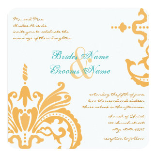 Beeswax and Blue Curacao Floral Damask Invitations