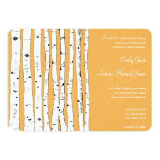 "Beeswax Birch Tree Wedding Invitations 5"" X 7"" Invitation Card"