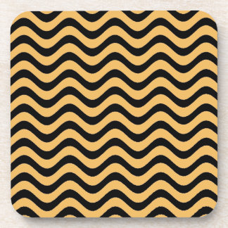 Beeswax Color And Black Waves Patterns Coaster