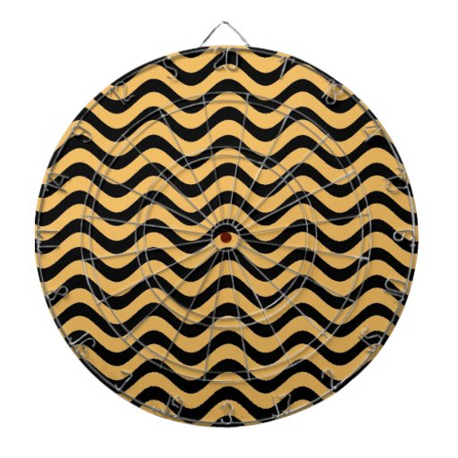 Beeswax Color And Black Waves Patterns Dart Board