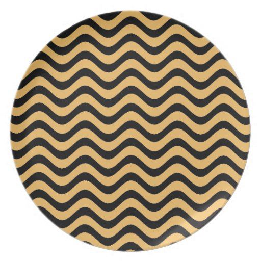 Beeswax Color And Black Waves Patterns Plate