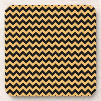 Beeswax Color And Black Zigzag Chevron Pattern Drink Coaster