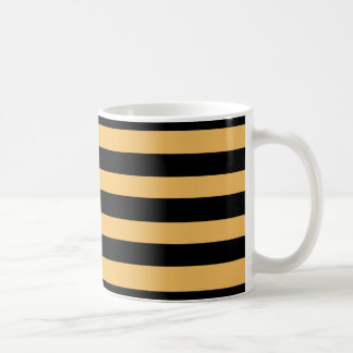 Beeswax Color And Horizontal Black Stripes Pattern Mugs