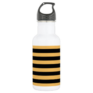Beeswax Color And Horizontal Black Stripes Pattern 532 Ml Water Bottle