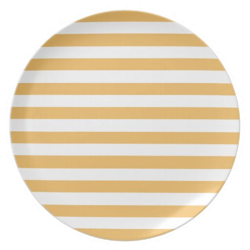 Beeswax Color And White Stripes Party Plates