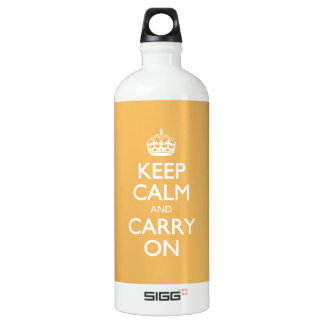 Beeswax Color Keep Calm And Carry On White Text SIGG Traveller 1.0L Water Bottle