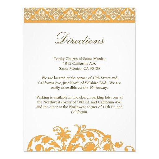 Beeswax Damask Wedding Direction Card Invitation
