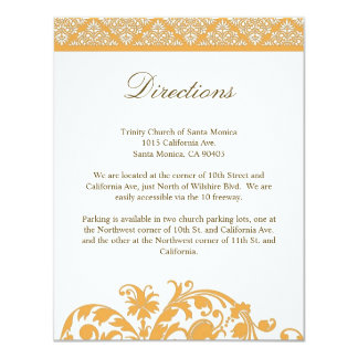 Beeswax Damask Wedding Direction Card Invitation