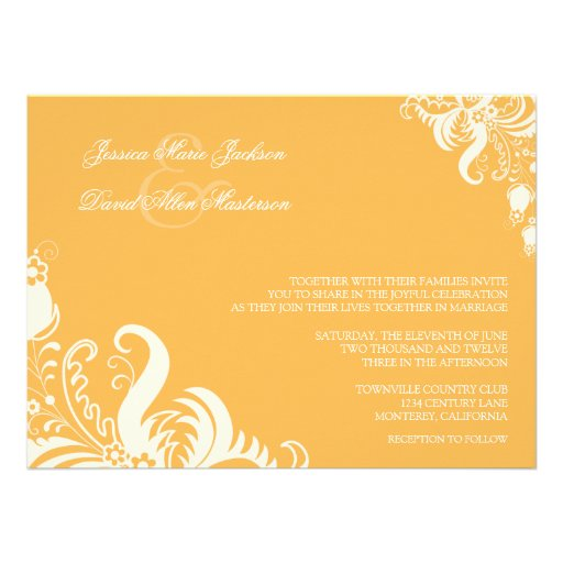 Beeswax Floral Accent Wedding Invitation