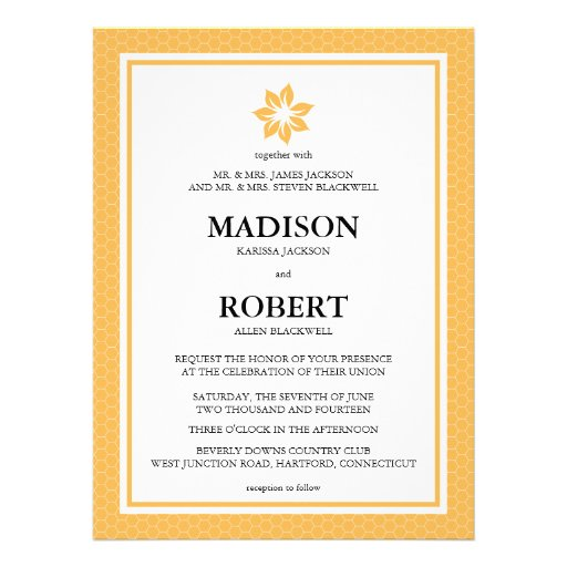 Beeswax Honeycomb Wedding Invitations