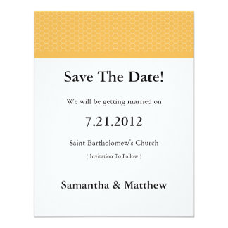 Beeswax Honeycomb Yellow Save The Date Cards Custom Invitation