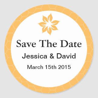 Beeswax Honeycomb Yellow Save The Date Stickers