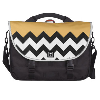 Beeswax-On-Black-&-White-Zigzag-Pattern Laptop Commuter Bag