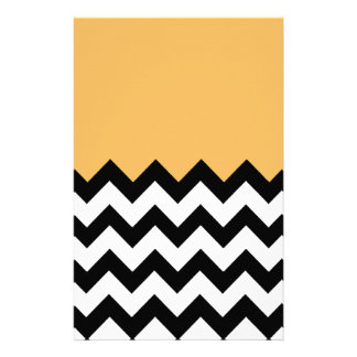 Beeswax-On-Black-&-White-Zigzag-Pattern Customized Stationery