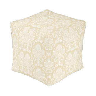 Beeswax Victorian Damask Pouf