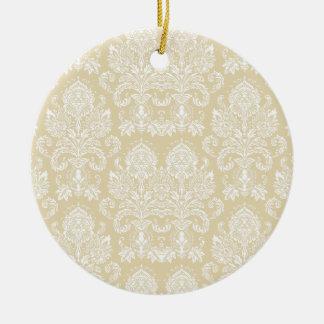 Beeswax Victorian Damask Round Ceramic Decoration