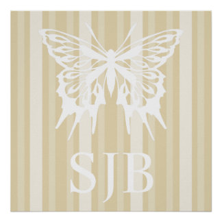 Beeswax Victorian Lady Stripe with Butterfly Poster
