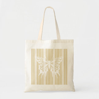 Beeswax Victorian Stripe with Butterfly Budget Tote Bag
