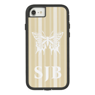 Beeswax Victorian Stripe with Butterfly Case-Mate Tough Extreme iPhone 8/7 Case