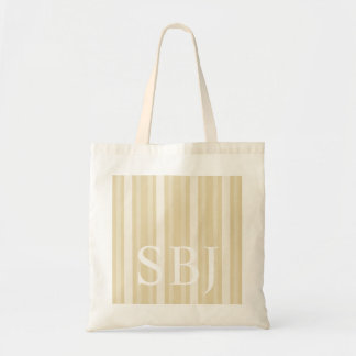 Beeswax Victorian Stripe with Monogram Budget Tote Bag