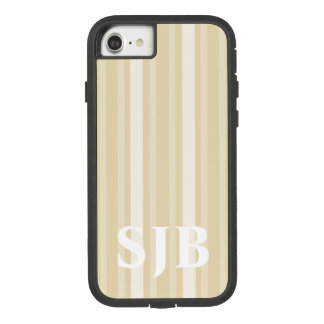 Beeswax Victorian Stripe with Monogram Case-Mate Tough Extreme iPhone 8/7 Case