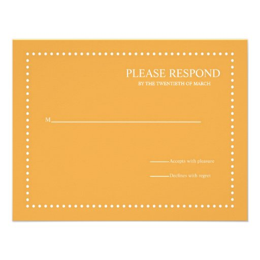 Beeswax Wedding Response Card with Pearl Border Personalized Announcements
