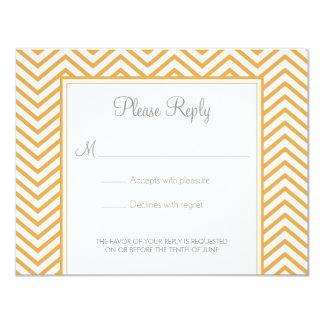 BeesWax Yellow Chevron Print Wedding Response Card 11 Cm X 14 Cm Invitation Card