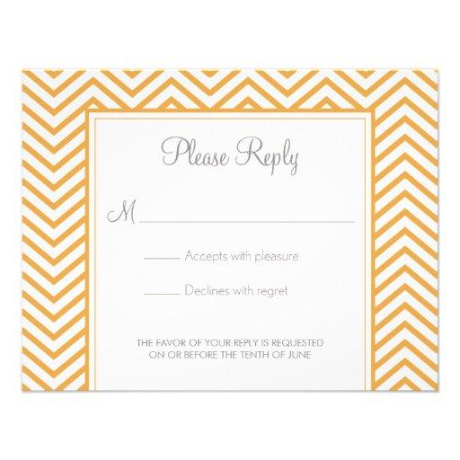 BeesWax Yellow Chevron Print Wedding Response Card Announcement