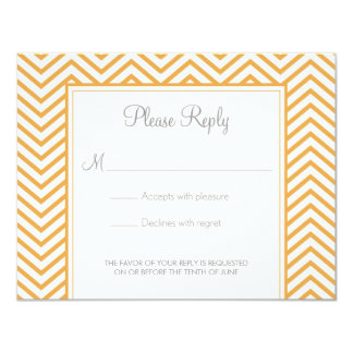 BeesWax Yellow Chevron Print Wedding Response Card Announcement