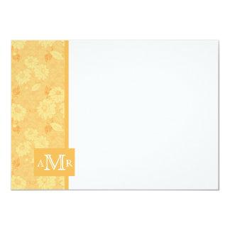 Beeswax Yellow Damask Monogram Flat Card 4.5 x 6.2