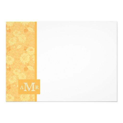 Beeswax Yellow Damask Monogram Flat Card 4.5 x 6.2 Custom Invite