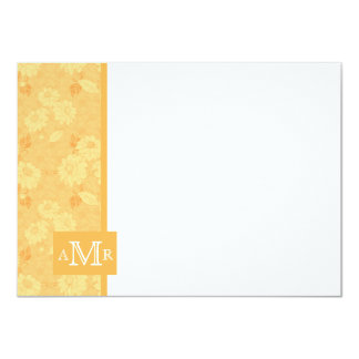 "Beeswax Yellow Damask Monogram Flat Card 4.5 x 6.2 4.5"" X 6.25"" Invitation Card"