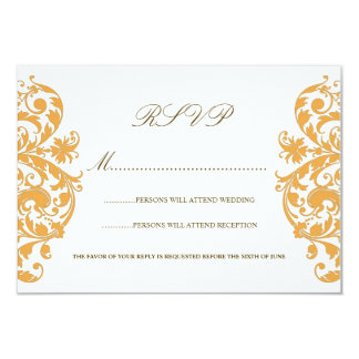 Beeswax Yellow Damask Wedding RSVP Cards Personalized Invite
