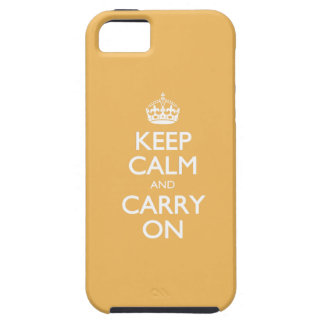 Beeswax Yellow / Keep Calm And Carry On/White Text iPhone 5 Cases