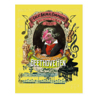 Beethovehen Funny Hen Animal Composer Beethoven Postcard